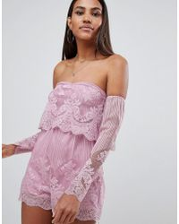Missguided - Lace Bardot Playsuit - Lyst