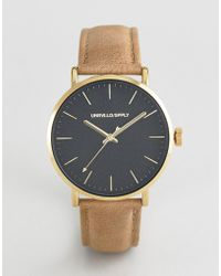 ASOS - Watch With Moving Arrow Hand In Brown And Gold - Lyst