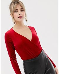 New Look - Wrap Velvet Body With Long Sleeves In Red - Lyst