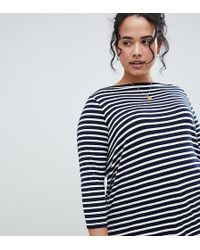 ASOS - Asos Design Curve Slouchy Long Sleeve T-shirt In Stripe - Lyst