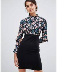 Girls On Film - Dress With Floral High Neck Top - Lyst