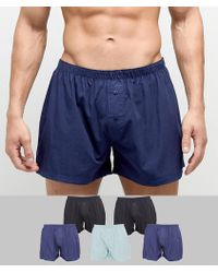 ASOS - Woven Boxers In Blues 5 Pack - Lyst