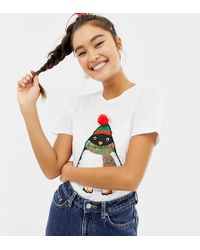 5d2f1286 ASOS Christmas T-shirt With Sequin Sleeves And Fa La La La Print in ...