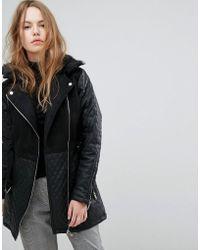 New Look - Quilted Longline Biker Jacket - Lyst