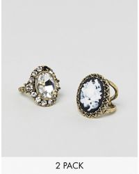 ASOS - Pack Of 2 Rings In Vintage Style Jewel And Cameo Design In Gold - Lyst