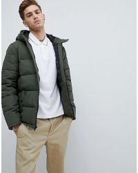 Original Penguin - Quilted Hooded Puffer Jacket Sleeve Badge Logo In Green - Lyst