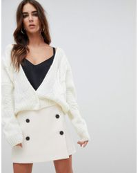Fashion Union - Relaxed Cardigan In Cable Knit - Lyst