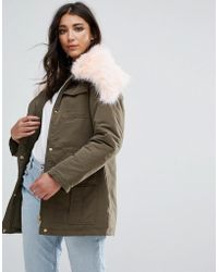 Missguided - Khaki Fur Collar Parka Coat - Lyst