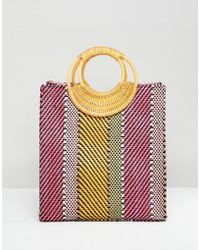 ASOS - Design Stripe Straw Mini Shopper Bag With Bamboo Handle - Lyst