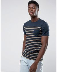 Mango - Man Striped T-shirt In Navy And Orange - Lyst