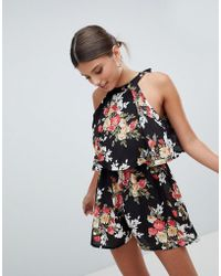Girl In Mind - Double Layer Floral Playsuit - Lyst
