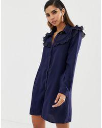 Liquorish - Shirt Dress With Ruffle Bib Detail - Lyst