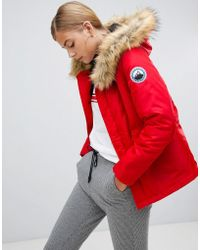 Boohoo - Luxe Faux Fur Sporty Parka In Red - Lyst