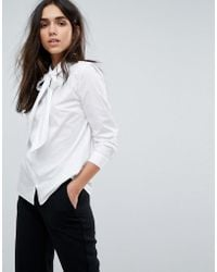 SELECTED - Bow Tie Neck Shirt - Lyst