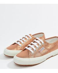 Superga - 2750 Lame Metallic Trainers In Pink - Lyst