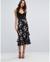 Warehouse | Floral Printed Ruffle Midi Skirt | Lyst