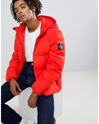 Calvin Klein - Puffer Jacket With Logo Patch - Lyst