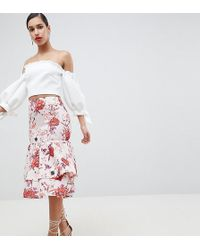 True Violet - Layered Frill Midi Skirt - Lyst