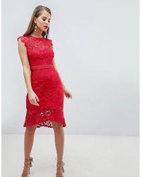 Lipsy - Lace Flippy Hem Midi Dress - Lyst