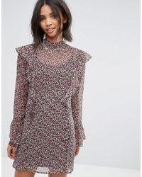 Madam Rage - Sheer Frilled Ditsy Print Dress With Slip - Lyst