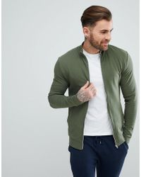 ASOS - Muscle Jersey Track Jacket In Green - Lyst