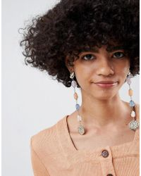 ASOS DESIGN - Statement Strand Earrings With Faux Semi-precious Stones And Textured Metal In Gold - Lyst