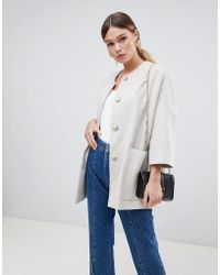 Helene Berman - Wool Blend Kimono Coat With Cropped Sleeves - Lyst