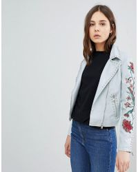 Glamorous - Biker Jacket With Embroidery - Lyst