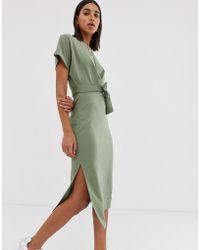 Bershka Jersey T Shirt Dress In Khaki - Green