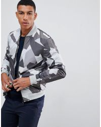 J.Lindeberg - Thom Abstract Print Bomber Jacket In Grey - Lyst