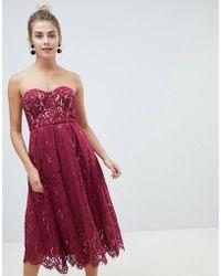 New Look - Lace Bandeau Midi Dress - Lyst