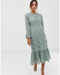 ASOS - Premium Broderie Maxi Dress With Pep Hem And Fluted Sleeves - Lyst