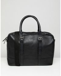 ASOS - Leather Satchel In Black With Double Straps - Lyst