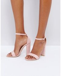 Glamorous - Blush Barely There Block Heeled Sandals - Lyst