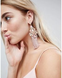 ASOS - Statement Pretty Jewel And Tassel Earrings - Lyst