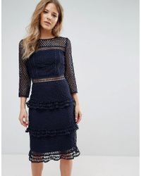 Liquorish - Layered Lace 3/4 Sleeve Midi Dress - Lyst