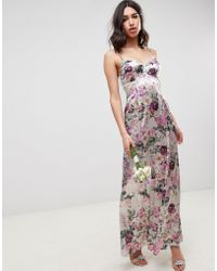 19828ba22d1c ASOS - Cami Maxi Dress With Lace Insert In Pretty Floral Print - Lyst