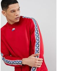 Nike - Long Sleeve Top With Taped Side Stripe In Red Aj2298-687 - Lyst