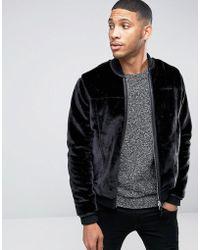 Barneys Originals - Barneys Premium Faux Fur Trimmed Pocket Bomber Jacket - Lyst