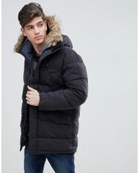 Mango - Man Parka With Faux Fur Hood In Black - Lyst