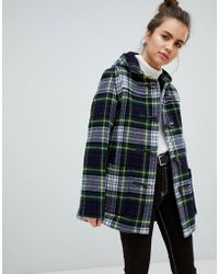 Gloverall - Slim Mid Length Duffle Coat In Check - Lyst