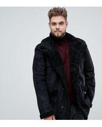 ASOS - Plus Faux Shearling Jacket In Black - Lyst