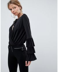ASOS - Asos Wrap Front Top With Frill Sleeves And Tie Neck - Lyst