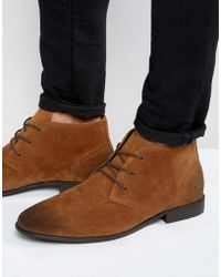 ASOS - Chukka Boots In Tan Faux Suede - Lyst