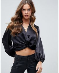 ASOS - Satin Plunge Long Sleeve Top With Twist Front - Lyst