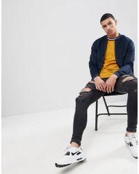 Pull&Bear - Faux Suede Bomber Jacket In Navy - Lyst