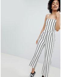 48bd413137d Hot Bershka - Stripe Wide Leg Jumpsuit In Cream - Lyst
