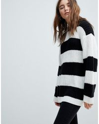 Bershka - Stripe Longline Knitted Jumper - Lyst