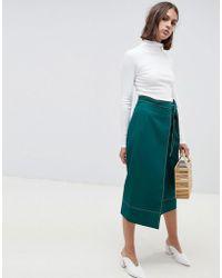 687da75a76b3 ASOS - Tailored Midi Wrap Skirt With Topstitch - Lyst