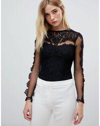 Club L - Crochet Lace Mesh Bodysuit - Lyst